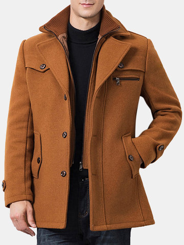Mens Winter Woolen Fake Two Pieces Coat