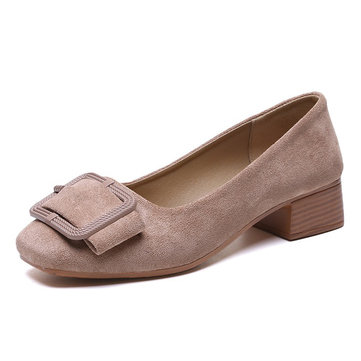 Suede Elegant Square Heel Shoes