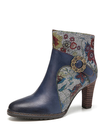 Elegant Flowers Printed Splicing Cowhide Leather Short Boots