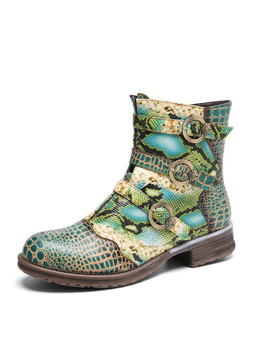 Serpentine Printed Leather Block Heel Ankle Boots