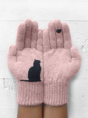 Warm Cold Padded Cat Bird Print Glove Wool Gloves