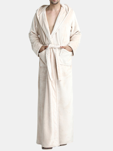 Flannel Pajamas Ankle-Length Hooded Bathrobe