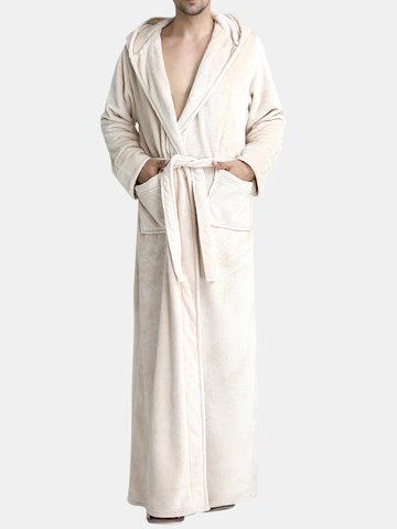 Pijama de flanela Tornozelo-comprimento Roupão de banho com capuz