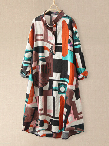 Plaid Loose Long Sleeve Print Kleid