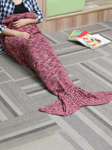 180X90CM Yarn Knitting Mermaid Tail Blanket Air Conditioning Blanket Bed Mat Sleep Bag