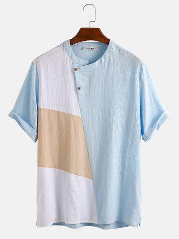 100% Cotton Contrast Color Patchwork T-Shirt
