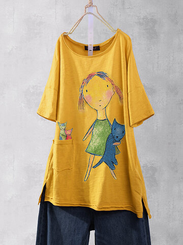 T-Shirt mit Karikaturdruck Damen