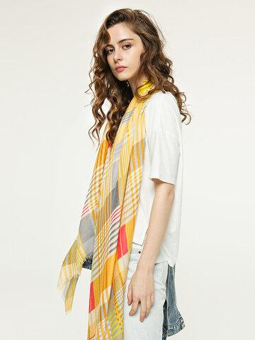 Multicolor Plaid Stitching Scarf Long Ladies Tassel