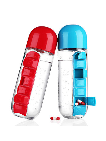 600ml Water Bottle Daily Pill Storage Box