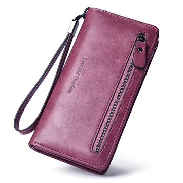 Women PU Leather 10 Card Slots Bifold Purse