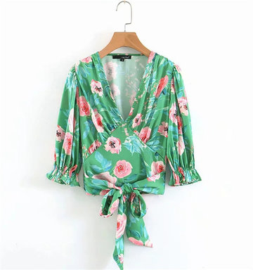 Net Red Ins Fashion Blogger With The Same Shirt Female V-neck Printing Stitching Tie Rope Short Shirt