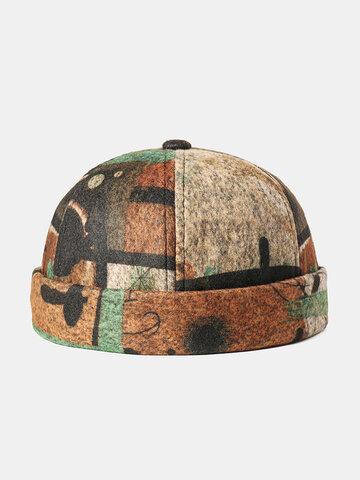 Casquette de crâne sans bord à motif abstrait pour hommes et femmes multicolore Soft Chapeau en feutre