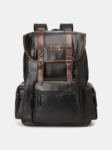 PU Leather Multi-pockets Large Capacity Backpack