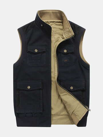 Plus Size Mutil Pockets Reversible Vest