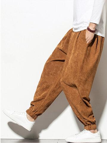 Corduroy Solid Color Jogger Pants