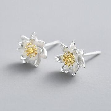 925 रजत कमल फूल बालियां