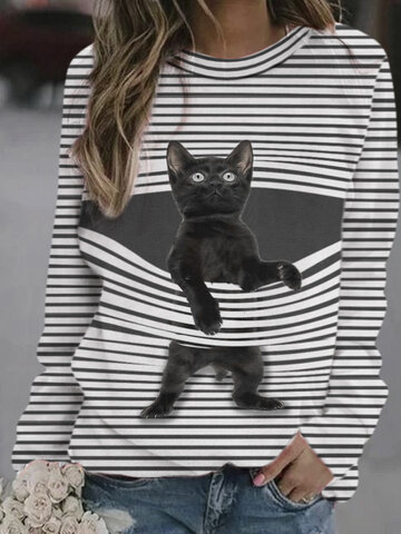 Cat Print Striped Sweatshirt