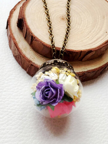 Glass Ball Dried Flower Necklace