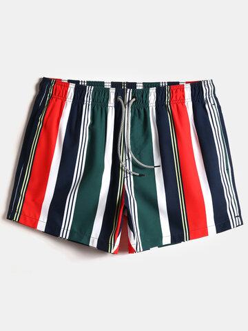 Colorful Stripe Swim Trunks For Men