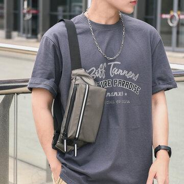 Polyester-Kopfhörerloch Multi-Taschen Wasserdichte Umhängetasche Brusttasche Sling Bag