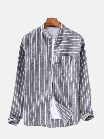 Cotton Striped Vintage Loose Fit Camicia