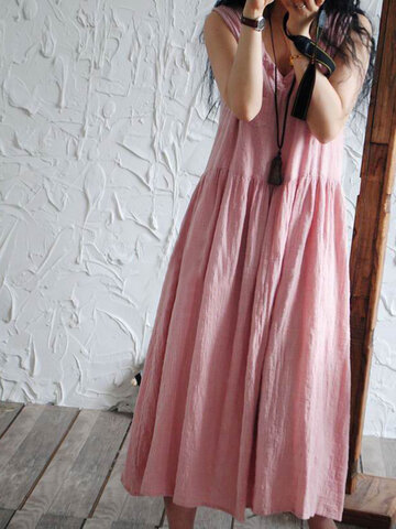 Casual Loose Solid Color Sleeveless Women Dresses