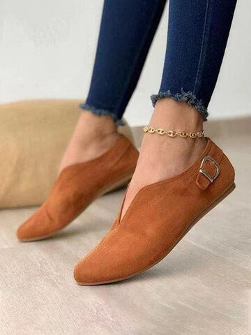Retro Pointed Toe Front V-Cut Slip On Casual Flat Shoes