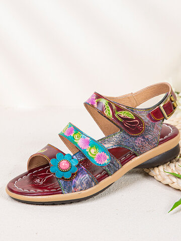 SOCOFY Bohemian Flower Genuine Leather Hook Loop Beach Sandals