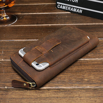 Genuine Leather Vintage 5.5 Inche Phone Wallet For Men
