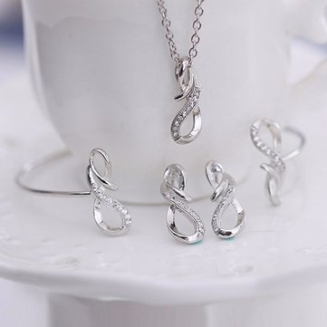 8 Shaped Silver Alloy Crystal Necklace Earrings Jewelry Set