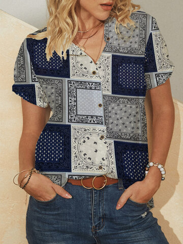 Ethnic Pattern Short Sleeve Blouse