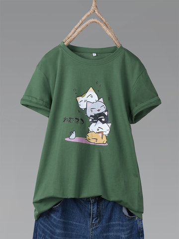 Cat Cartoon Short Sleeve Funny T-shirt