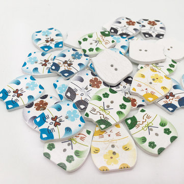 50 Pcs Mixed Color Painted Lucky Cat Wooden Buttons