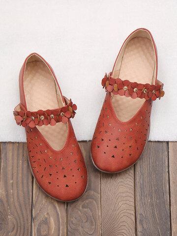Zapatos planos sin cordones con punta redonda y flores ahuecadas