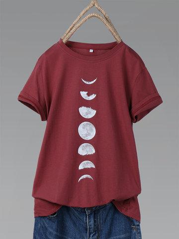 T-shirt d'été à imprimé lune