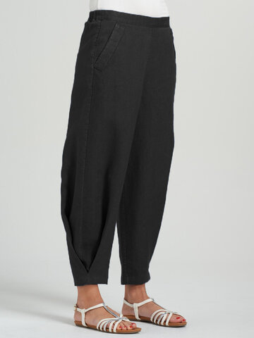 newchic / Casual Elastic Waist Pleated Pants