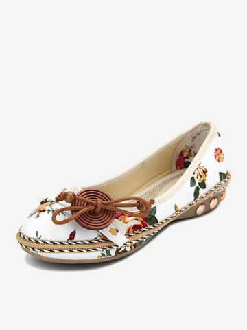 Bowknot Button Flower Flat Loafers