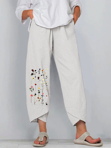 Flower Print Splited Pants