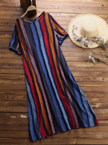 Casual Baggy Striped Maxi Dresses