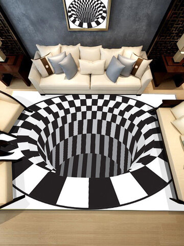 Ouniman Shaggy Rectangle Area Rug Creative 3D Modern Accent Rugs Anti-Skid Black White Plaid Check Contemporary Carpet Luxury Washable Living Dining Room Sofa Home Bedroom Floor Mat