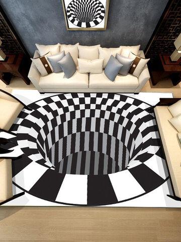 سجادة Ouniman Shaggy مستطيلة الشكل إبداعية ثلاثية الأبعاد سجاد لهجة حديثة مضادة للانزلاق أسود أبيض منقوش مربعات سجادة فاخرة قابلة للغسل لغرفة المعيشة وغرفة الطعام وسجادة أرضية لغرفة النوم والمنزل