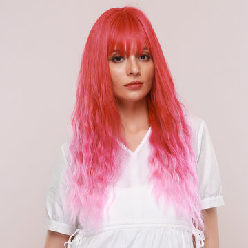 Pink Long Curly Hair Wig