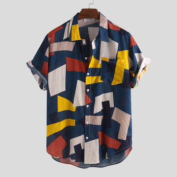 Mens Summer Hit Color Printed Loose Shirts