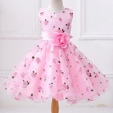 Princesa de las muchachas de flor Vestido para 3Y-11Y