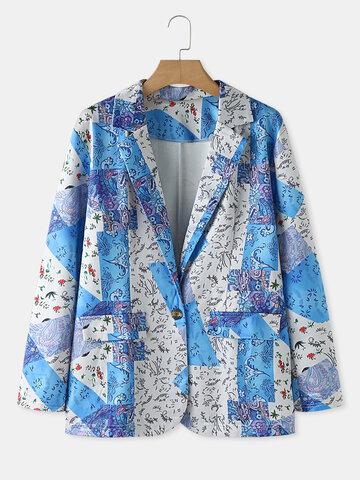 Floral Patched Print Suit Jacket