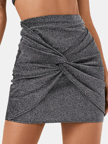 Solid Color Knotted Short Skirt
