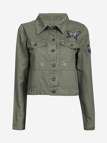 Women Vintage Embroidery Pattern Turn Down Collar Jacket