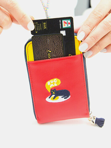 Cartoon Patchwork Lovely Style Card Holder Hang Coins Bag