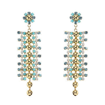 JASSY® Bohemian White Opal Pacific Opal Rhinestones Tassels Earrings Gift for Women