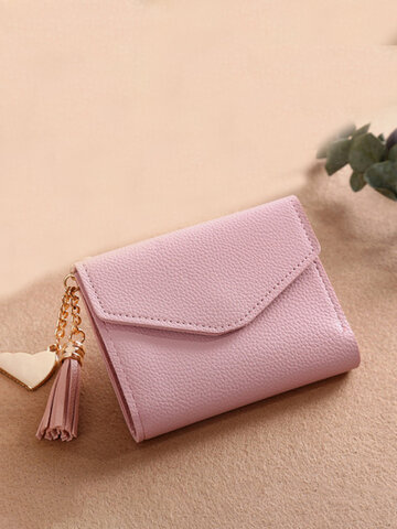 Tassel Candy Color Small Short Wallet